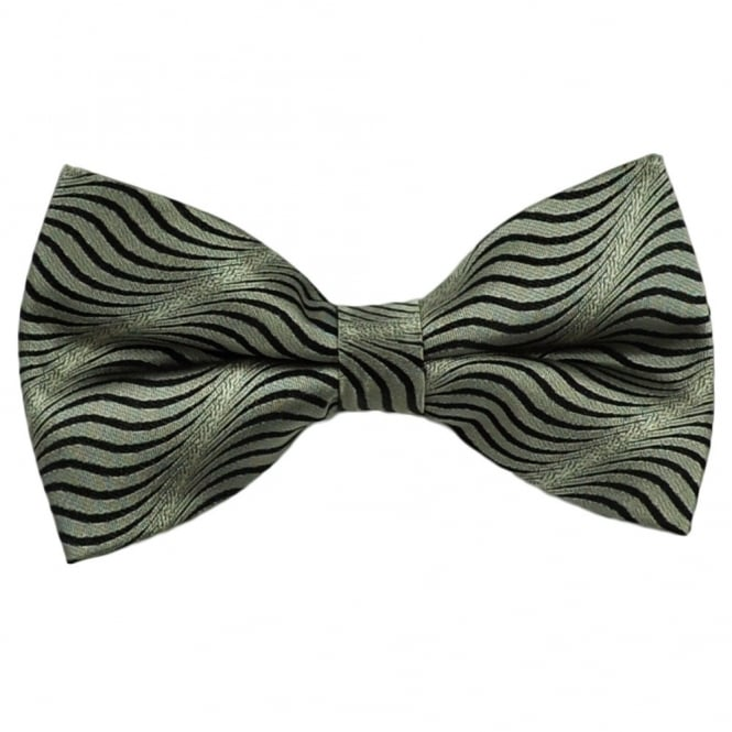 Silver & Black Swirl Patterned Silk Bow Tie