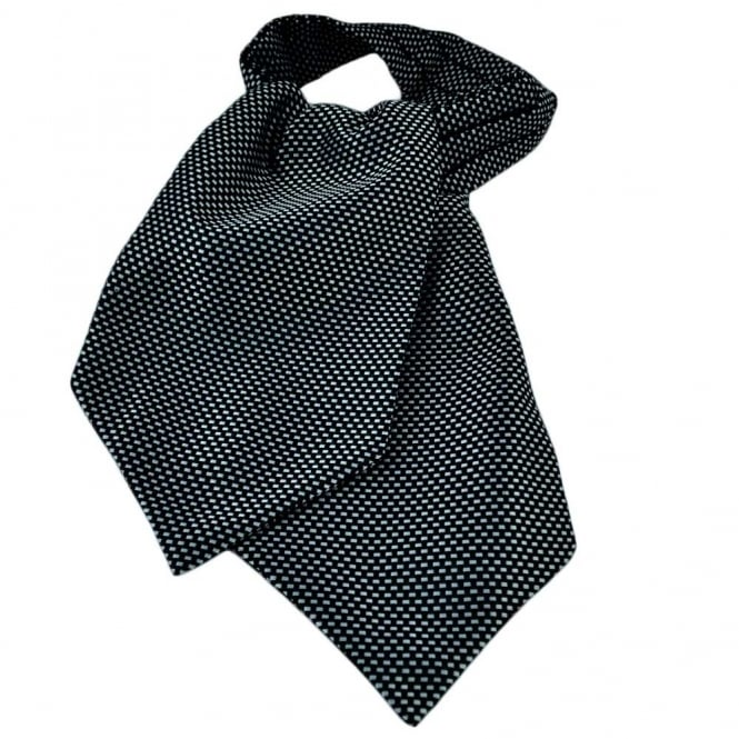 Silver & Black Weave Patterned Casual Day Cravat