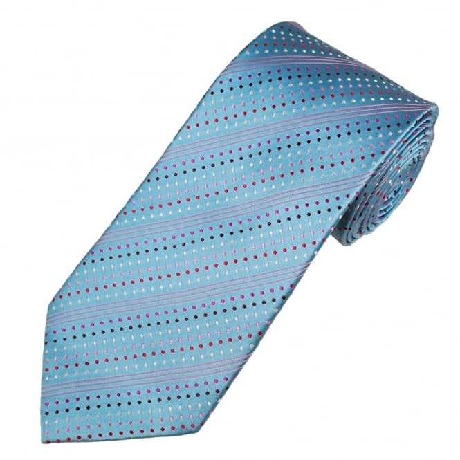 Silver Blue & Shades Of Pink Spots & Stripes Patterned Men's Silk Tie