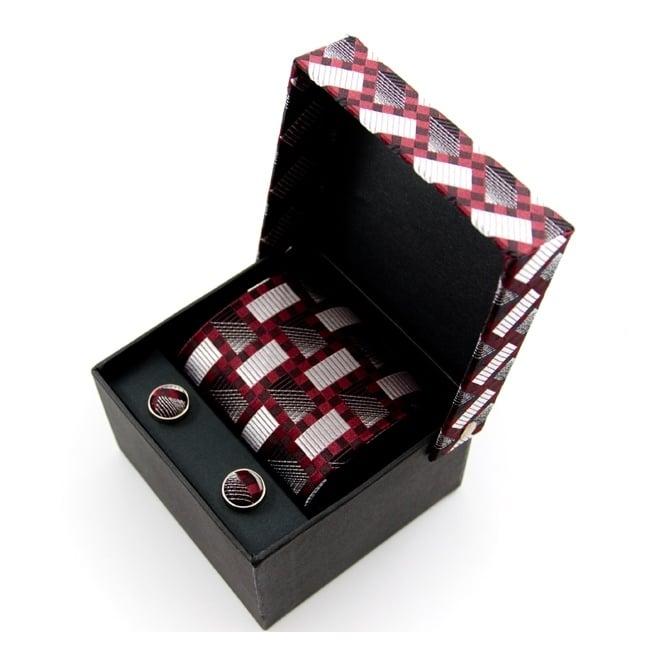 Silver Amp Burgundy Patterned Silk Tie Amp Cufflinks Gift
