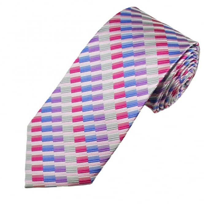 Silver, Cerise, Heather, Lavender & White Striped Pattern Men's Silk Tie