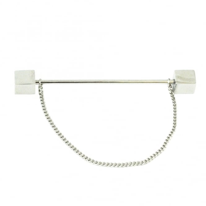 Silver Cube Collar Bar Pin with Chain