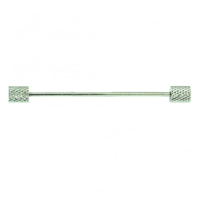 Silver Diamond Cut Cylinder Ends Collar Bar Pin