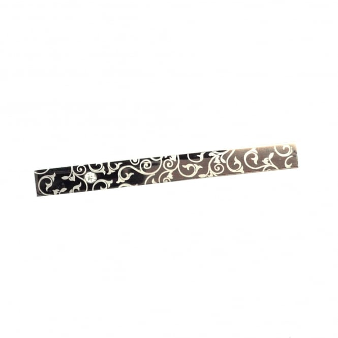 Silver Floral Patterned Tie Bar with Crystal
