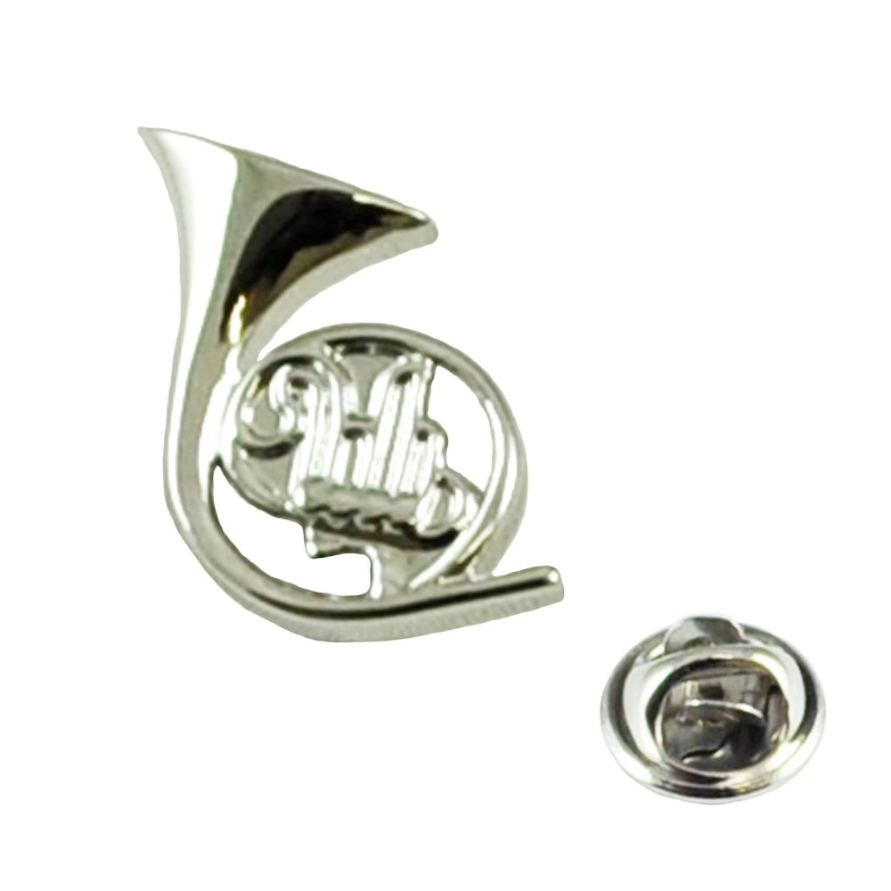 Silver French Horn Musical Instrument Lapel Pin Badge   Rhodium Plated