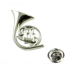 Silver French Horn Musical Instrument Lapel Pin Badge - Rhodium Plated