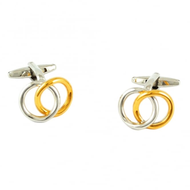 silver and gold wedding rings style cufflinks