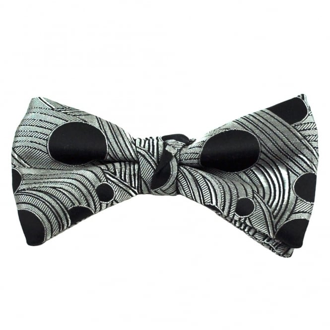 Click to view product details and reviews for Silver Grey Black Dot Patterned Silk Bow Tie.