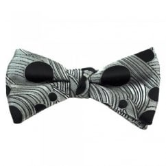 Silver Grey & Black Dot Patterned Silk Bow Tie