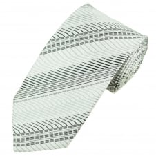 Silver, Grey & Black Patterned Men's Extra Long Tie