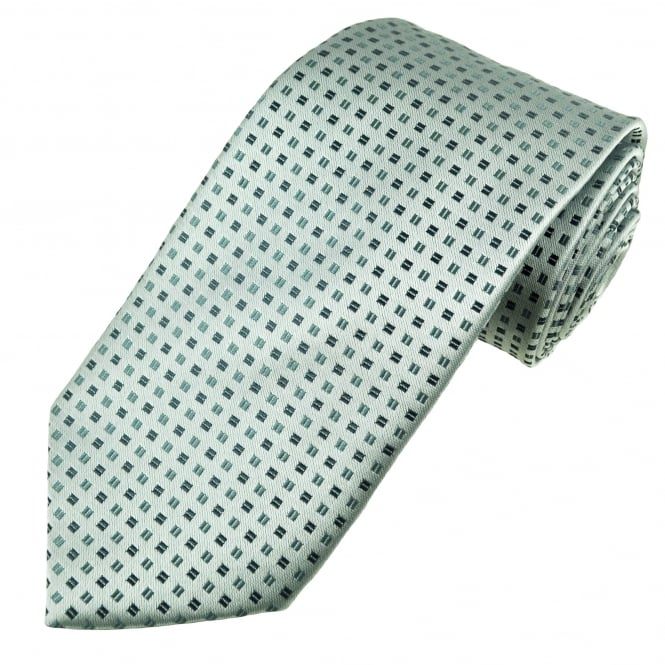 Silver, Grey & Black Square Patterned Men's Tie