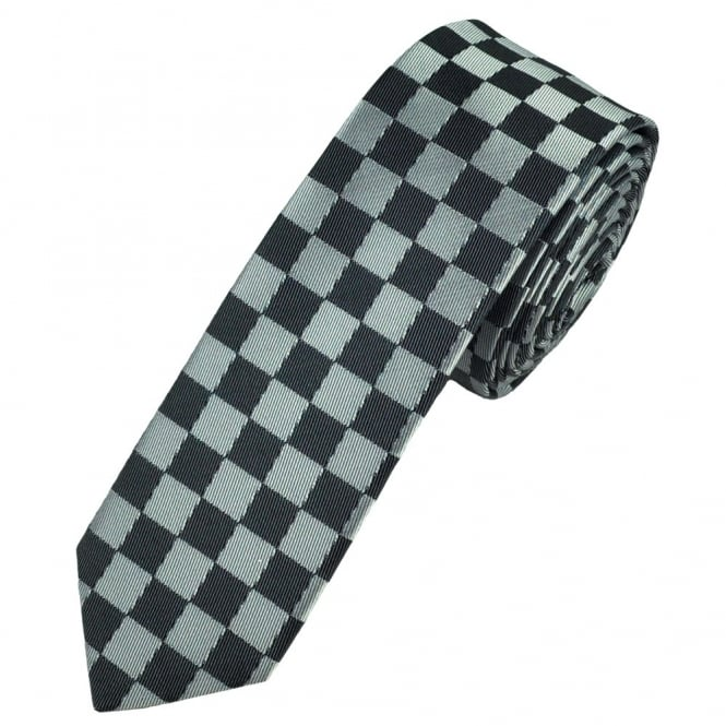 silver and grey checked skinny tie
