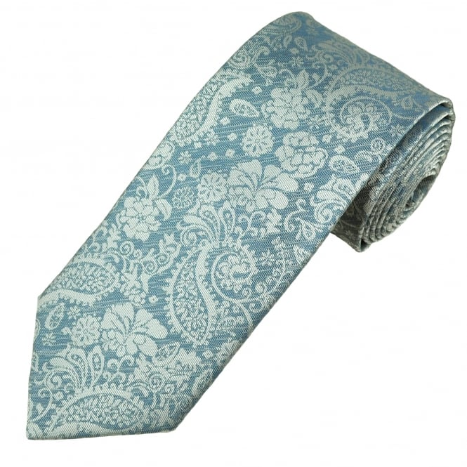 Silver & Grey Floral Paisley Patterned Men's Tie