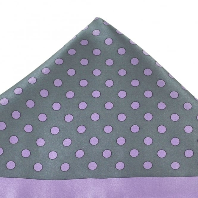 Silver Grey & Lilac Dot Patterned Silk Pocket Square Handkerchief