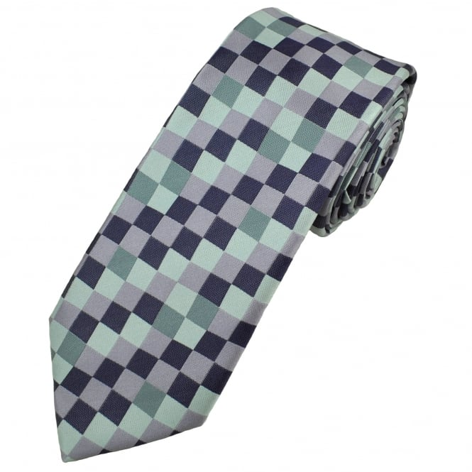 Silver, Grey, Lilac & Purple Square Patterned Men's Tie