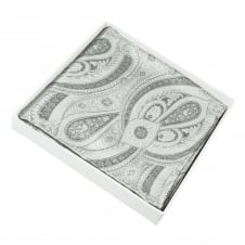 Silver & Grey Patterned Silk Pocket Square Handkerchief