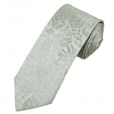 Silver Grey Self Patterned Luxury Men's Silk Tie