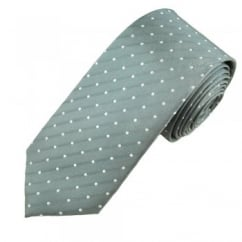 Silver Grey & Silver White Polka Dot Men's Silk Tie