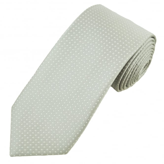 Silver Grey & White Square Patterned Men's Tie