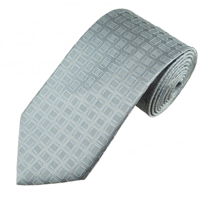Silver, Light Blue & White Square Patterned Men's Tie