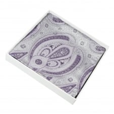 Silver & Lilac Patterned Silk Pocket Square Handkerchief