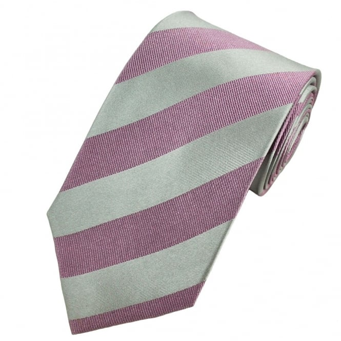 Silver & Lilac Striped Silk Tie