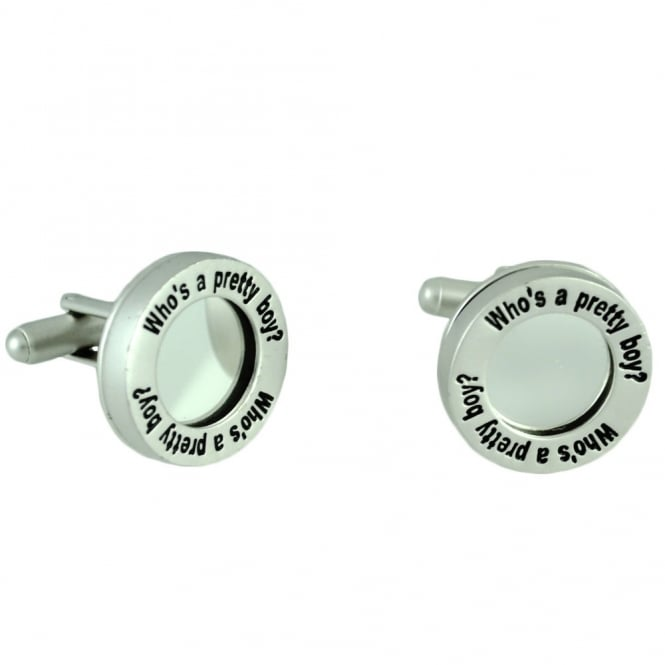 Silver Mirror 'Who's A Pretty Boy' Novelty Cufflinks