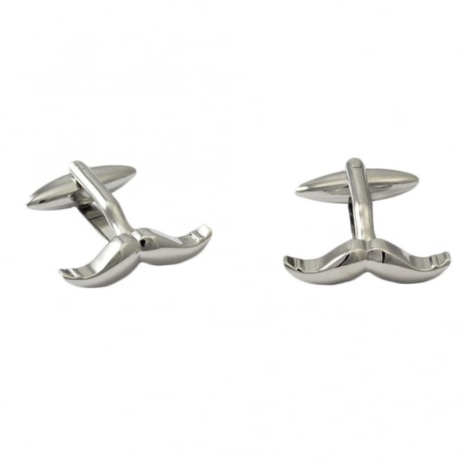 Silver Moustache Novelty Cufflinks