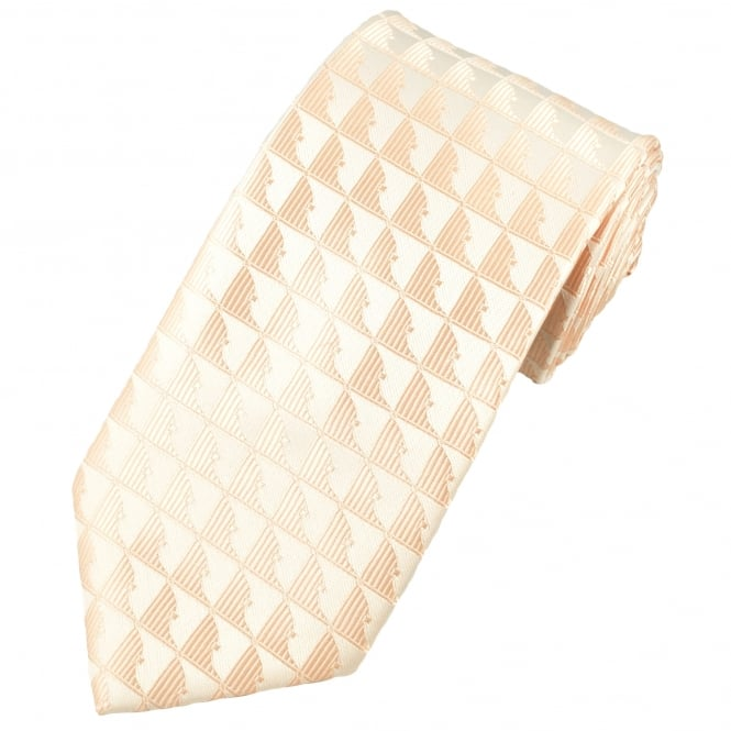 Silver & Natural Patterned Men's Extra Long Tie