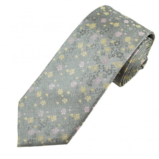 Silver, Pink & Gold Flower Patterned Men's Silk Tie