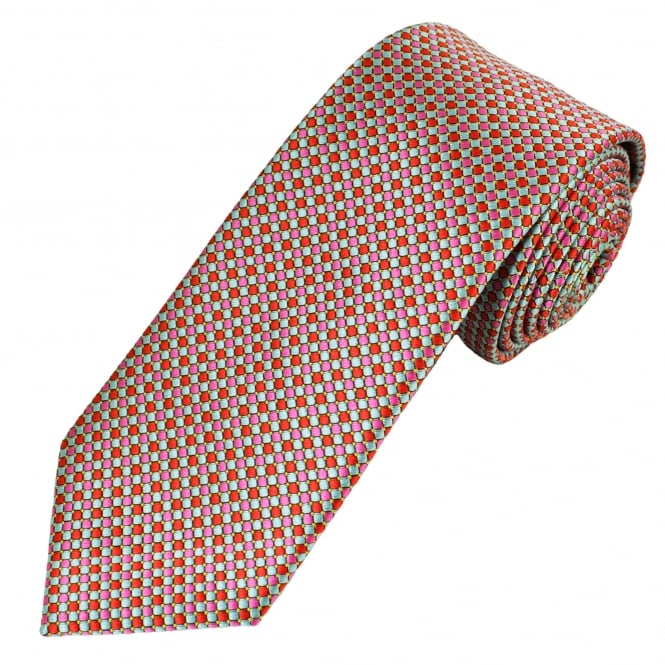 silver, pink, red and yellow spot patterned men