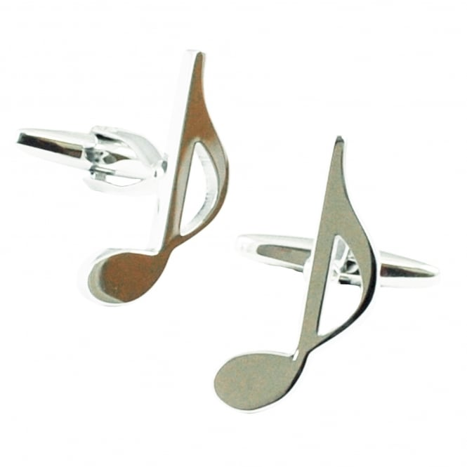 Silver Quaver Music Note Novelty Cufflinks