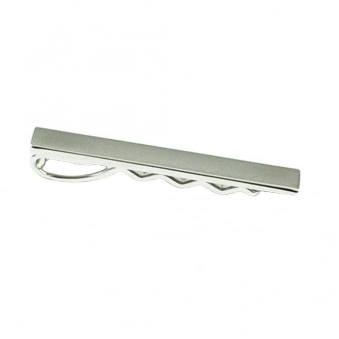 Silver Rectangle Tie Bar - 40mm