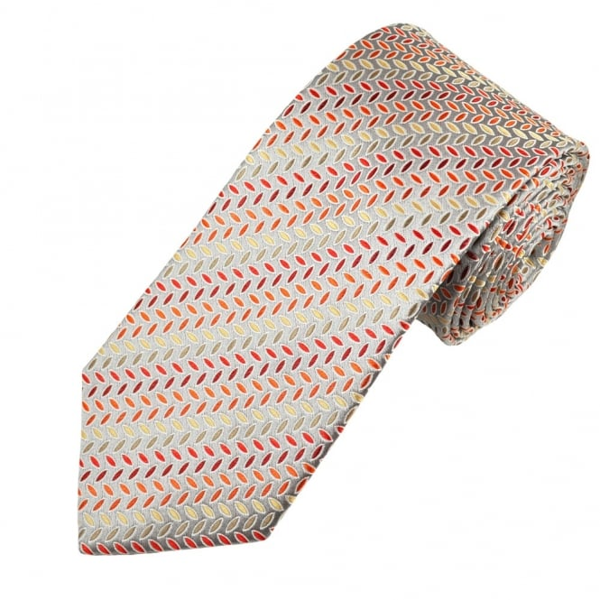 Silver, Red & Yellow Patterned Men's Silk Tie