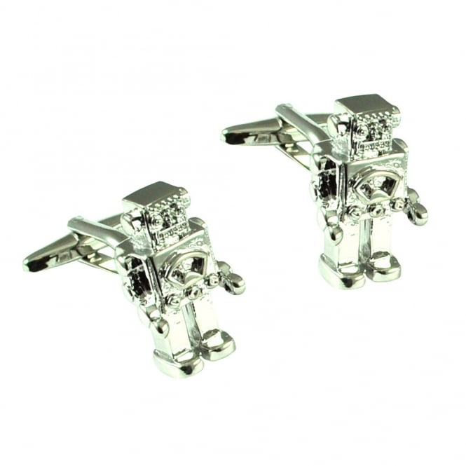 silver robot novelty cufflinks