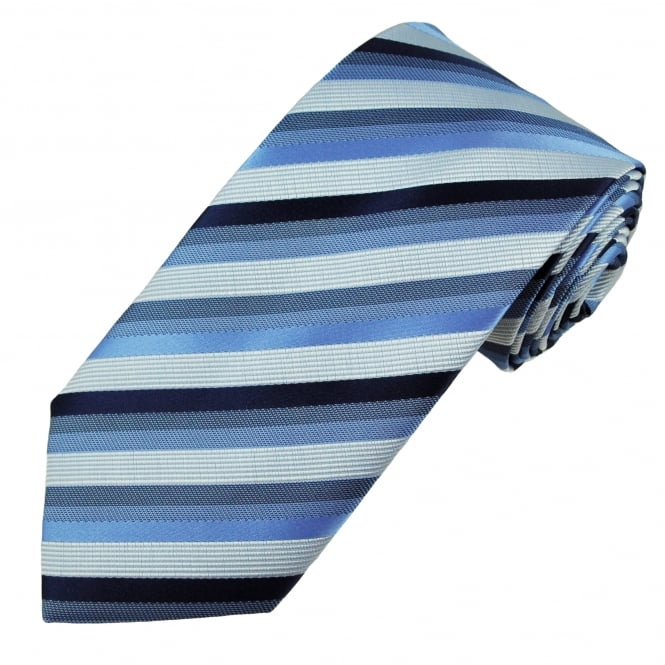 Silver & Shades of Blue Striped Men's Tie