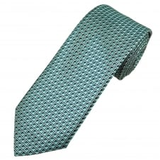 Silver, Teal Green & Mint Square Patterned Men's Tie