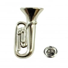 Silver Tuba Musical Instrument Lapel Pin Badge - Rhodium Plated