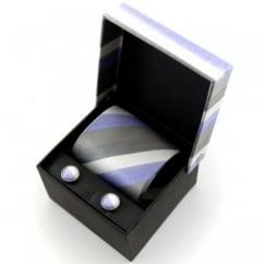 Silver, White & Lavender Striped Silk Tie & Cufflinks - Gift Box Set