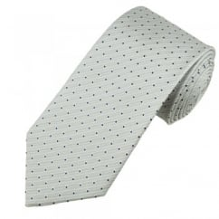 Silver & White Pinstripe with Navy Blue Polka Dot Men's Silk Tie
