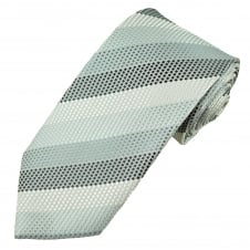 Silver, White & Steel Blue Men's Extra Long Tie