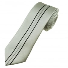 Silver with Black & Grey Vertical Striped Narrow Men's Tie