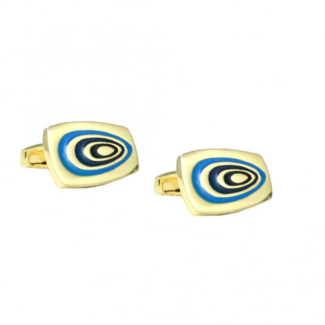 Simon Carter 70's Swirl Gold & Blue Cufflinks