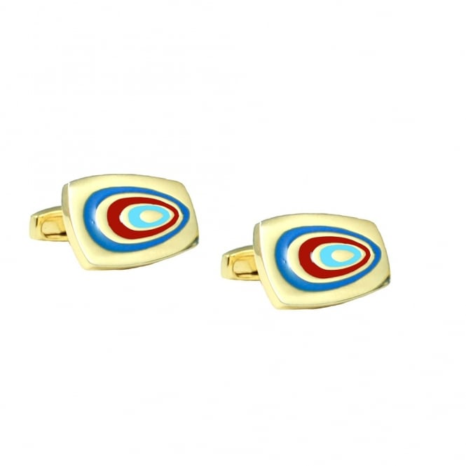 Simon Carter 70's Swirl Gold & Red Cufflinks
