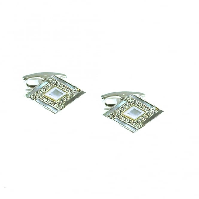 Simon Carter Deco Diamond Mother of Pearl Cufflinks
