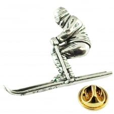 Skier, Skiing Pewter Lapel Pin Badge