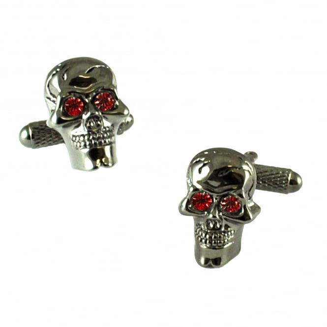 Skull With Red Eyes Novelty Cufflinks