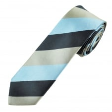 Sky Blue, Navy & Grey Striped Men's Skinny Tie