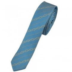 Sky Blue Patterned Ultra Skinny Silk Tie Limited Edition By Ashley Victoria