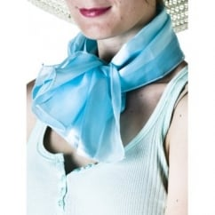 Sky Blue Satin Self-Stripe Scarf
